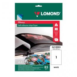 Фотобумага для струйной печати САМОКЛЕЯЩАЯСЯ, А4, 85 г/м2, 25 листов, глянцевая, LOMOND, 2410003