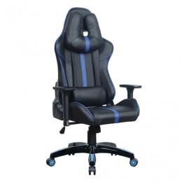 Кресло компьютерное BRABIX GT Carbon GM-120, две подушки, экокожа, черное/синее, 531930