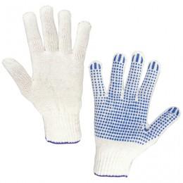Перчатки хлопчатобумажные 7,5 класс, 46-48 г, 166 текс, ПВХ-точка, комплект 5 пар, ЛАЙМА СТАНДАРТ, белые, 600801