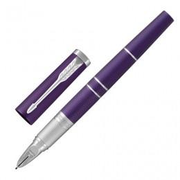 Ручка Пятый пишущий узел PARKER Ingenuity Deluxe Blue Violet CT, корпус фиолетовый, хромированные детали, черная, 1931454
