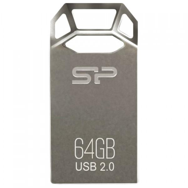 Флеш-диск 64 GB, SILICON POWER Touch T50, USB 2.0, металлический корпус, серебристый, SP64GBUF2T50V1C