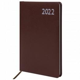 Еженедельник датированный 2022 А5 (145х215мм) BRAUBERG Profile, балакрон, коричневый,, 112878