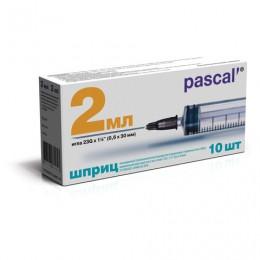 Шприц 3-х компонентный PASCAL, 2 мл. КОМПЛЕКТ 10 шт. в коробке, игла 0,6х30 - 23G, ш/, 120205