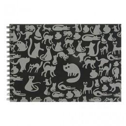 Блокнот для эскизов А4 210х297 мм, 40 л., 160 г/м2, ЧЕРНАЯ тонированная бумага, гребень, Ночные коты, БЛ-8918