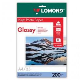 Фотобумага LOMOND для струйной печати, А4, 200 г/м2, 25 л., односторонняя глянцевая, 0102046