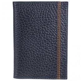 Обложка для паспорта FABULA Brooklyn, натуральная кожа, контрастная отстрочка, синяя, О.81.BR