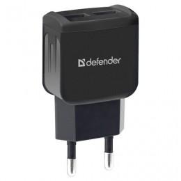 Зарядное устройство сетевое (220 В) DEFENDER UPC-23, кабель Type-C 1м, вых. ток 2,1 А, черное, 83583