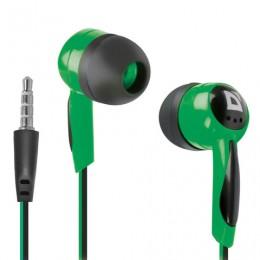 Наушники DEFENDER Basic 604, проводные, 1,2 м, вкладыши, черные с зеленым, 63607