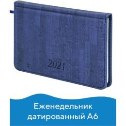 Еженедельник 2021 МАЛЫЙ ФОРМАТ (95*155мм), А6, BRAUBERG Wood, кожзам, синий, код 1С, 111557