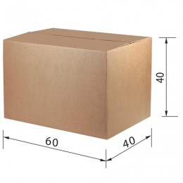Гофроящик, длина 600 х ширина 400 х высота 400 мм, марка Т24, профиль С, FEFCO 0201 / ГОСТ, исполнение А