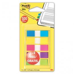 Закладки клейкие POST-IT Professional, пластиковые, 12 мм, 3+2 цвета х 20 шт., 683-5CBP