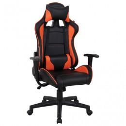 Кресло компьютерное BRABIX GT Racer GM-100, две подушки, экокожа, черное/оранжевое, 531925