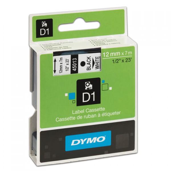 Картридж для принтеров этикеток DYMO D1, 12 мм х 7 м, лента пластиковая, чёрный шрифт, белый фон, S0720530