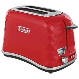 Тостер DELONGHI CTJ2103.R, 900 Вт, 2 тоста, разморозка, подогрев, решетка для булочек