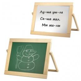 Доска для мела, магнитно-маркерная, двустороняя, настольная, 33х44 см, русские буквы, деревянная рамка, №9,