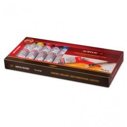 Краски акриловые художественные KOH-I-NOOR, 10 цветов по 40 мл, в алюминиевых тубах, 016270400000
