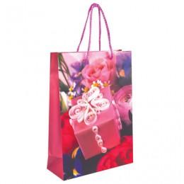 Пакет подарочный ламинированный, 22х31х9 см, женский, ассорти