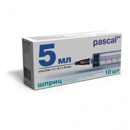 Шприц 3-х компонентный PASCAL, 5 мл. КОМПЛЕКТ 10 шт. в коробке, игла 0,7х40 - 22G, ш/, 120407