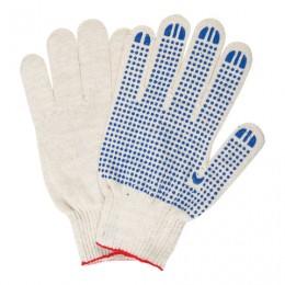 Перчатки хлопчатобумажные 10 класс, 40-42 г, 116 текс, ПВХ-точка, комплект 5 пар, ЛАЙМА ЛЮКС, белые, 604469
