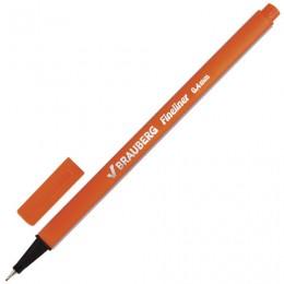 Ручка капиллярная BRAUBERG Aero, ОРАНЖЕВАЯ, трехгранная, металлический наконечник, линия письма 0,4 мм, 142249