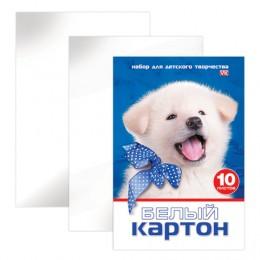 Белый картон, А4, мелованный, 10 листов, 230 г/м2, в папке, HATBER VK