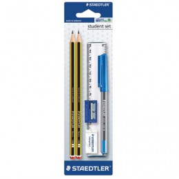 Набор STAEDTLER (Германия), ручка шариковая, карандаши чернографитные 2 шт. (НВ), резинка стирательная, точилка, линейка, 120SET BKD