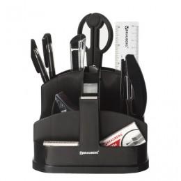 Канцелярский набор BRAUBERG Офисный 200, 10 предметов, вращающаяся конструкция, черный, блистер, 236950