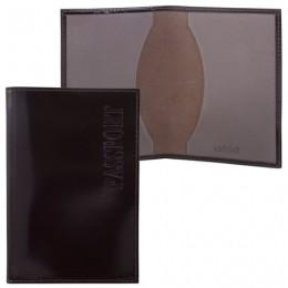 Обложка для паспорта BEFLER Classic, натуральная кожа, тиснение Passport, коричневая, O.1.-1