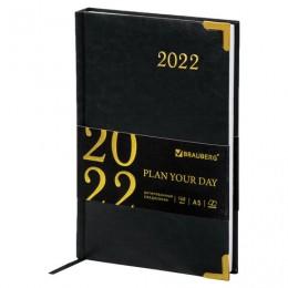 Ежедневник датированный 2022 А5 (138х213мм) BRAUBERG Senator черный, 112784