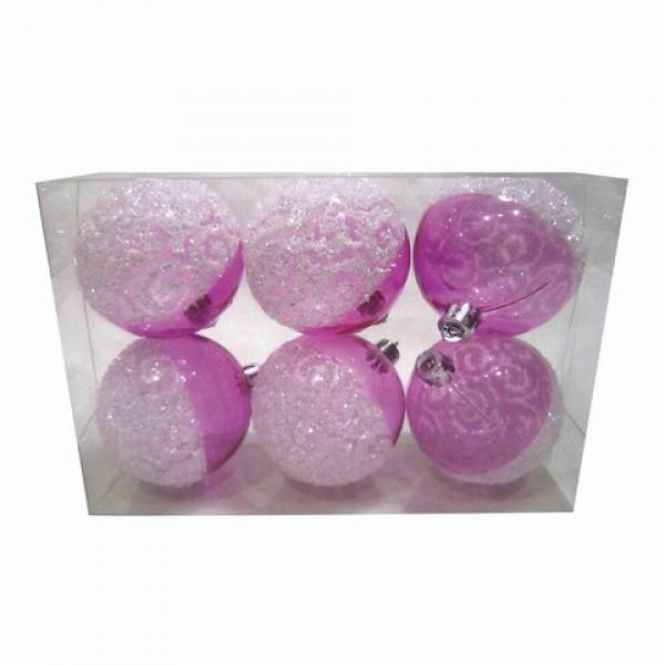 Шары елочные, НАБОР 6 шт., пластик, диаметр 6 см, с рисунком, цвет розовый (глянец+глиттер), 59582