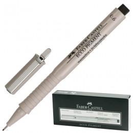Ручка капиллярная FABER-CASTELL Ecco Pigment, ЧЕРНАЯ, корпус серый, линия письма 0,6 мм, 166699
