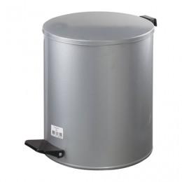 Ведро-контейнер для мусора с педалью УСИЛЕННОЕ, 15 л, кольцо под мешок, серое, оцинкованная сталь