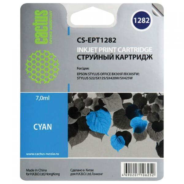 Картридж струйный CACTUS (CS-EPT1282) для EPSON Stylus S22/SX125/SX420W/BX305F, голубой