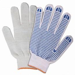 Перчатки хлопчатобумажные ЛАЙМА БЮДЖЕТ, комплект 200 пар, ПВХ-точка, 10 класс, 32-34 г, 83 текс, белые, 601912