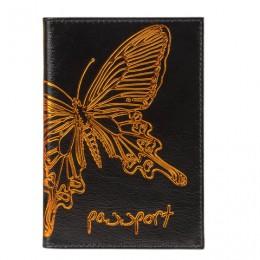 Обложка для паспорта BEFLER Бабочка, натуральная кожа, тисненение-принт, черная, O.14.-11