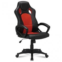 Кресло офисное BRABIX Rider EX-544, экокожа черная/ткань красная, 531583
