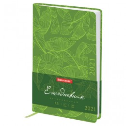 Ежедневник 2021 (138*213 мм), А5, BRAUBERG Foliage, кожзам, зеленый, код 1С, 111481