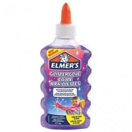 Клей для слаймов канцелярский с блестками ELMERS Glitter Glue, 177 мл, фиолетовый, 2077253