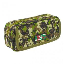 Пенал BRAUBERG для мальчиков, 1 отделение, органайзер, мягкий, Military, зеленый, 21х5х9 см, 228990