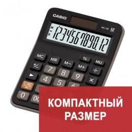 Калькулятор CASIO настольный MX-12B-W, 12 разрядов, двойное питание, 145х103 мм, европодвес, черный, MX-12B-W-EC