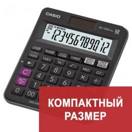 Калькулятор CASIO настольный MJ-120DPLUS-W, 12 разрядов, двойное питание, 126х148 мм, европодвес, черный, MJ-120DPLUS-W-E