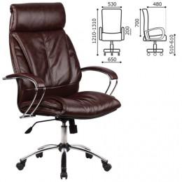 Кресло офисное МЕТТА LK-13CH, кожа, хром, коричневое