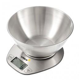 Весы кухонные UNIT UBS-2153, электронный дисплей, чаша 1,8 л, max вес 5 кг, тарокомпенсация, сталь, 312641