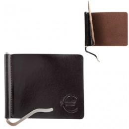 Зажим для купюр BEFLER Classic, натуральная кожа, тиснение, 105х86 мм, коричневый, Z.7.-1
