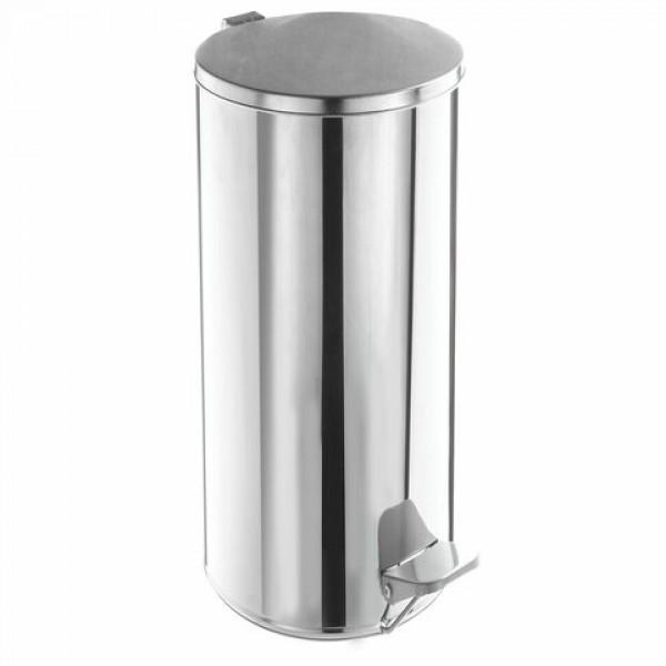 Урна для мусора с педалью, УСИЛЕННОЕ, ТИТАН, 50 литров, кольцо под мешок, нержавеющая сталь, хром