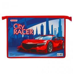 Папка для тетрадей ПИФАГОР А4, 1 отделение, картон, молния сверху, CITY RACER, 229094