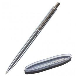 Ручка бизнес-класса шариковая BRAUBERG Larghetto, СИНЯЯ, корпус серебристый с хромированными деталями, линия письма 0,5 мм, 143474
