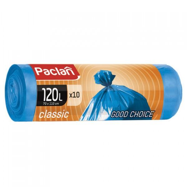 Мешки для мусора 120 л, синие, в рулоне 10 шт., ПНД, 20 мкм, 110х70 см, PACLAN