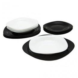 Набор посуды столовый, 18 предметов, черное и белое стекло, Carine Mix, LUMINARC, N1489