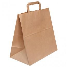 Крафт пакет бумажный 32х18х32 см, плоские ручки, плотность 70 г/м2, 606873